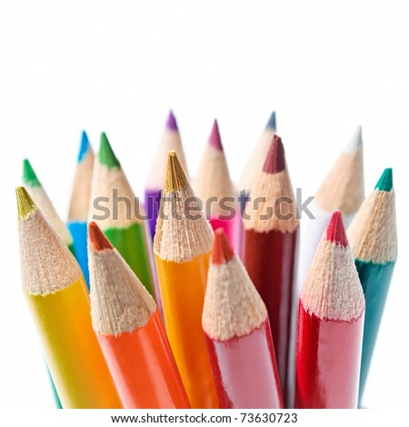 Colored pencils set isolated on white background - macro shot - stock photo