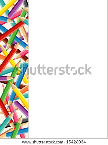 Colored Pencils Side Frame. Copy space for posters, announcements, stationery, scrapbooks and fliers for back to school, home and office projects.