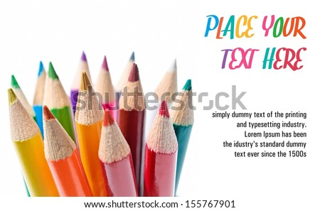 Colored pencils template isolated on white background