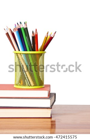 colored pencils with white background on the concept back to school
