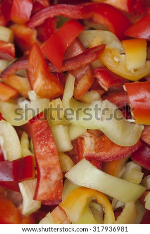 Colored Peppers mixed & chopped up - stock photo