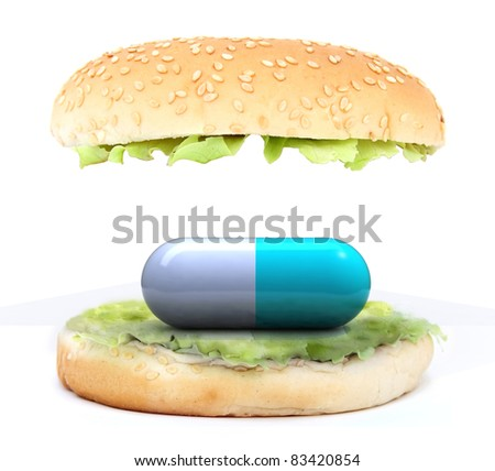 colored pill in the sandwich, food concept, 3d illustration - stock photo