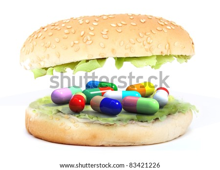 colored pills in the sandwich concept, 3d illustration - stock photo