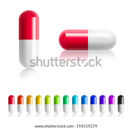 colored pills isolated on white background