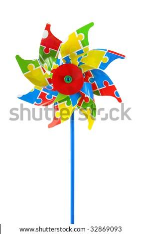 Colored pinwheel isolated on white background - stock photo