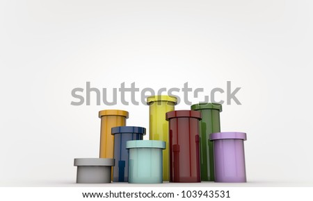 colored pipes isolated on white background