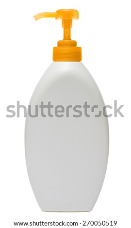 colored plastic bottles with liquid soap and shower gel isolated on white background . Studio shooting - stock photo