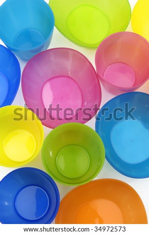 colored plastic cups