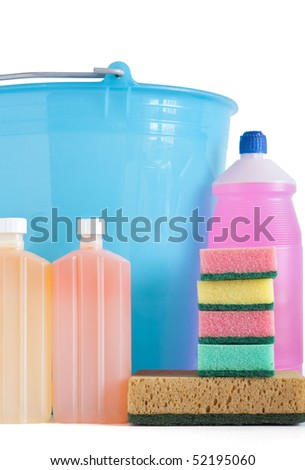 Colored plastic detergent bottles with bucket and sponges isolated on white background with clipping path