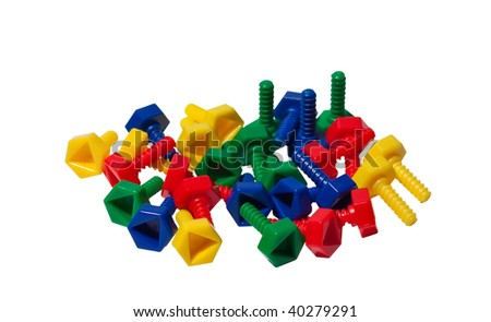 Colored plastic toy screws