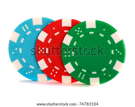 Colored poker chips isolated on a white background.