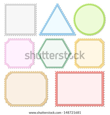 Colored Postage Stamps - stock photo