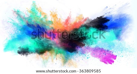 Colored powder isolated on white background - stock photo