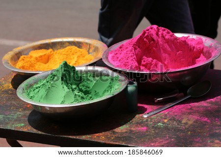 Colored powders sale in street for Holi ,a hindu festive clebration. - stock photo