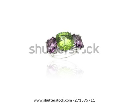 Colored Precious Stones trilogy jewelry ring isolated on white background - stock photo