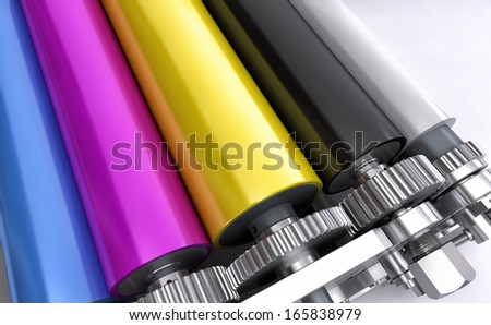 colored printers rolls - stock photo