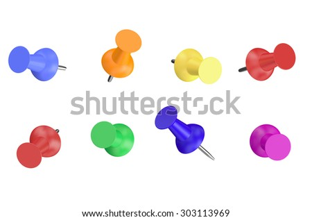 Colored Push Pins isolated on white background - stock photo