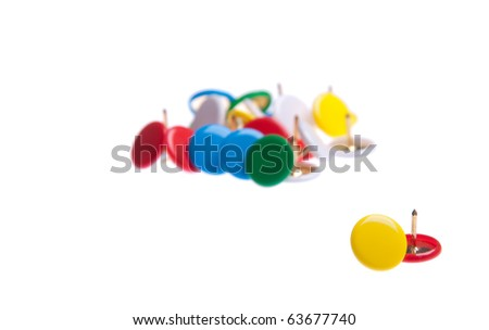colored push pins isolated on white background (shallow depth of field)