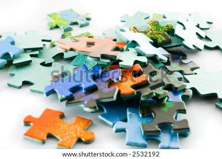 colored puzzle - stock photo