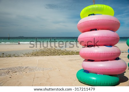 Colored ring on the beach at coral island or Koh Larn ,Pattaya Thailand  - stock photo