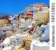 colored romantic Santorini - stock photo