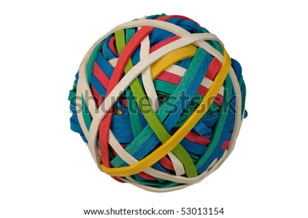 Colored Rubberband Ball isolated over a white background with clipping path - stock photo