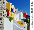 colored Santorini, resorts of Fira - stock photo