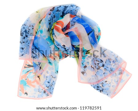 colored scarf rolled up in a ball isolated on white background - stock photo
