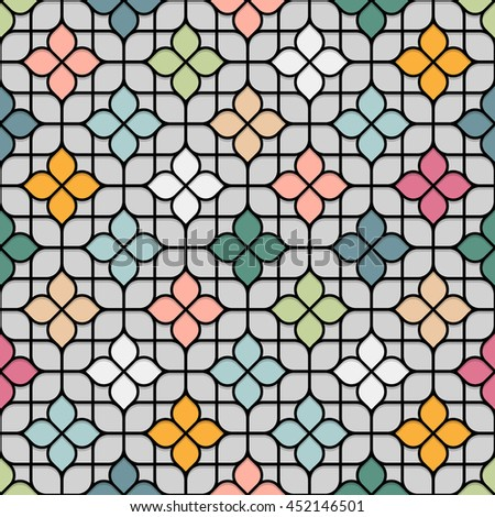 Colored Seamless Flower Pattern in Oriental style. Stained-glass window in East motif - background