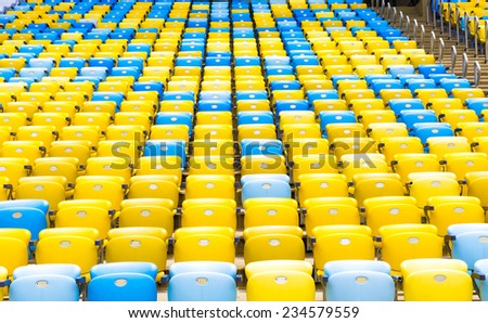 Colored Seating rows in the stadium - stock photo