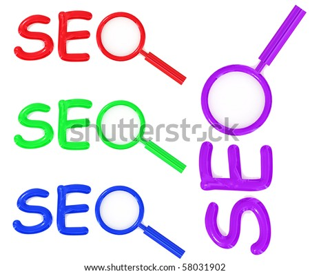 colored SEO letter sign with magnifier isolated on white background - stock photo
