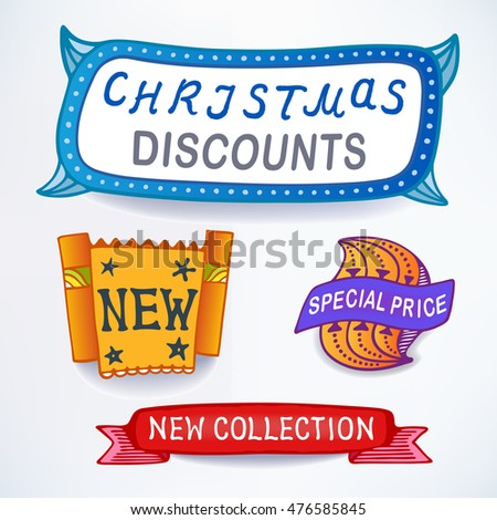 Colored set of promotional sales English text labels, signs, stickers