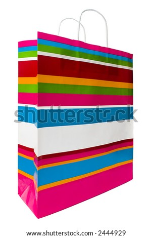 Colored Shopping Bag. Colored shopping bag on a white background - stock photo