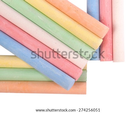 Colored sidewalk chalks on white. Clipping path inside. - stock photo