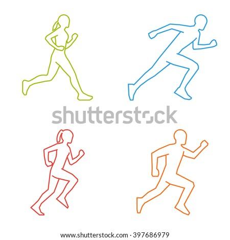 Colored silhouettes of runners. Line figures marathoner. Linear running symbol. - stock photo