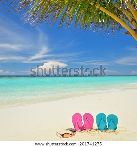 Colored slippers and sunglasses on the tropical beach  - stock photo