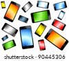 Colored Smart Phones Background - stock photo