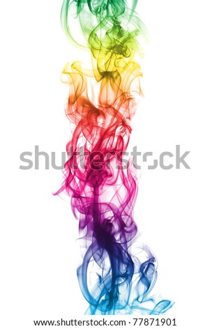 colored smoke isolated on white - stock photo