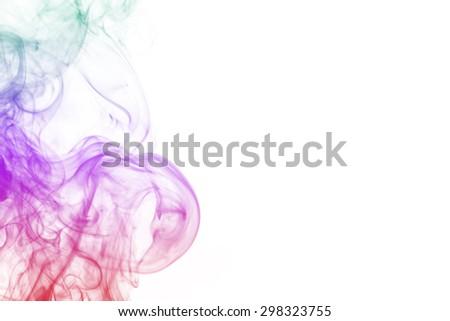 colored smoke isolated on white background - stock photo