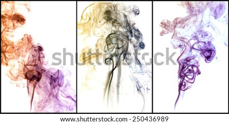 colored smoke on white background. - stock photo