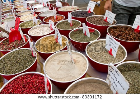 colored spices in market