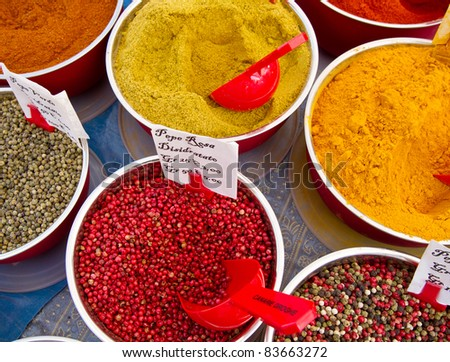 colored spices in market - stock photo