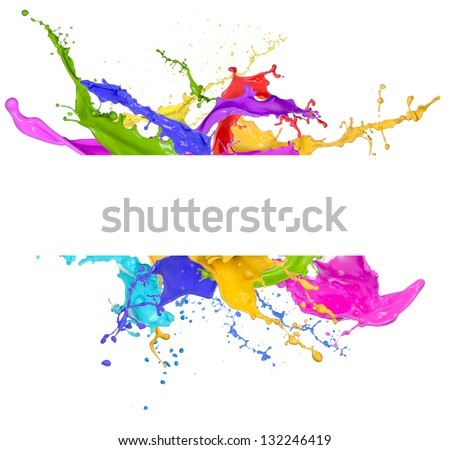 Colored splashes in abstract shape, isolated on white background - stock photo