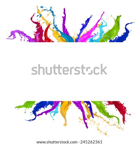 Colored splashes in abstract shape on white background - stock photo