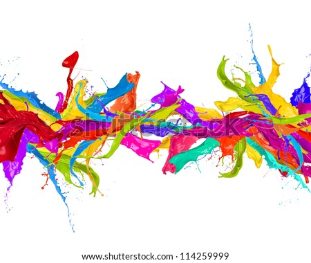 Colored splashes in stripe shape, isolated on white background - stock photo