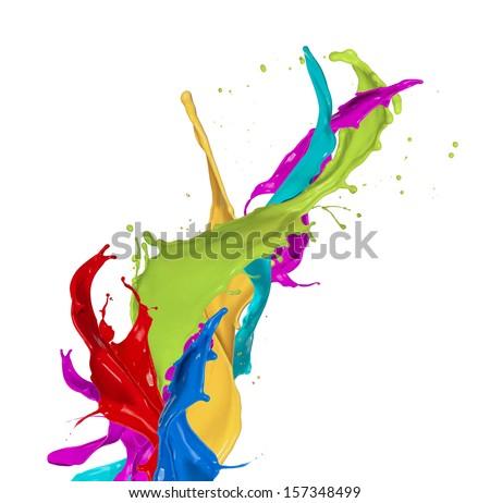 Colored splashes isolated on white background - stock photo