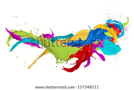 Colored splashes isolated on white background - stock photo