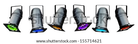 Colored stage lights or theatrical lights - stock photo