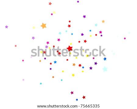 colored stars confetti on white - stock photo