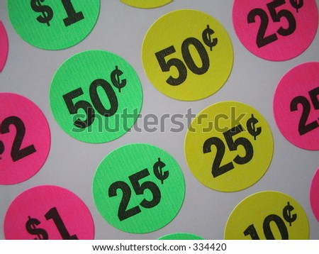Colored Sticker Price Tags - stock photo